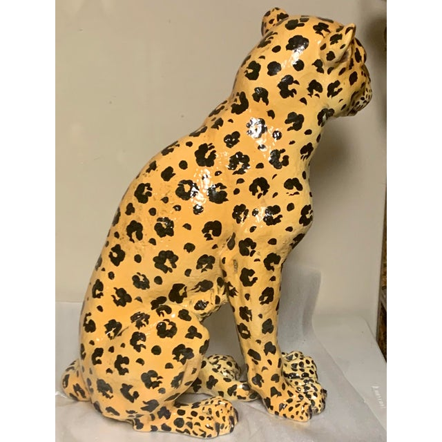 Hollywood Regency Mother and Baby Italian Terracotta Leopard Figurines For Sale - Image 3 of 9