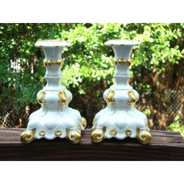 Holland Mold White & Gold Candle Holders - A Pair - Image 2 of 7