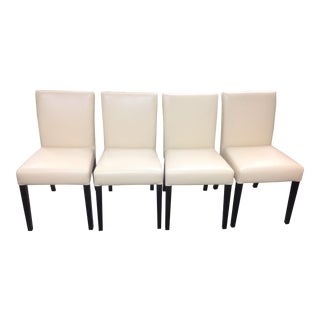 Neutral Faux-Leather Dining Room Chairs - Set of 4 For Sale