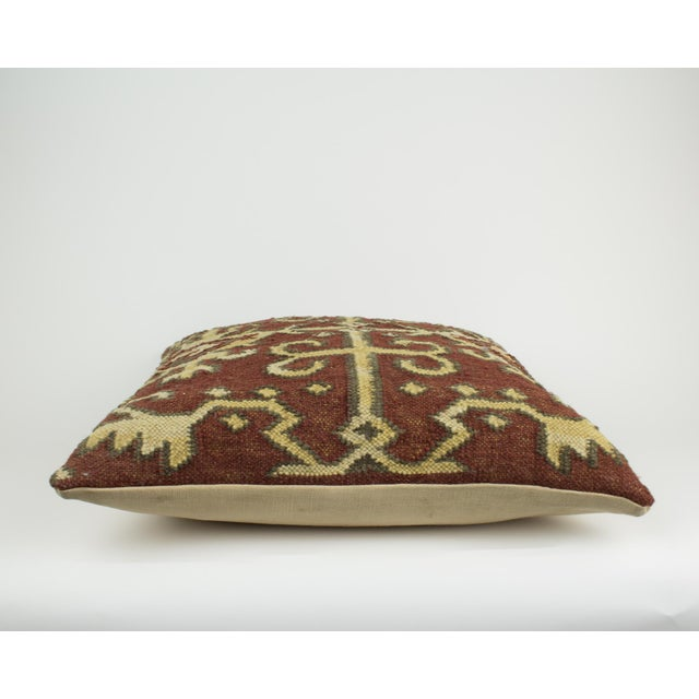 2000 - 2009 Brown and Tan Wool Textile Kilim Pillow For Sale - Image 5 of 9