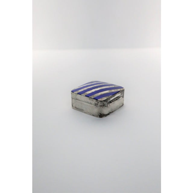 Italian Cartier Sterling Silver and Blue Enamel Pill Box For Sale - Image 3 of 8