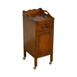 Smith & Watson Custom Mahogany One Drawer Leather Top Narrow Side Table For Sale