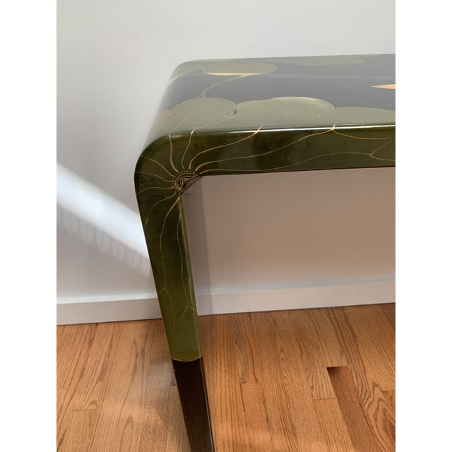 Final Markdown 1970s Asian Modern Lacquered Lily Pad and Lotus Leaf Waterfall Console Table For Sale - Image 4 of 12