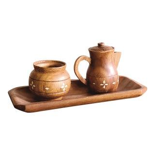Vintage Indian Wooden Creamer and Sugar Set - Set of 3 For Sale