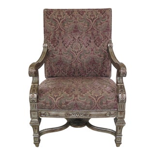 21st Century French Style Silver Painted Upholstered Chair For Sale