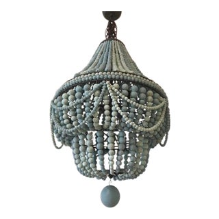 Ra Malibu Wooden Bead Chandelier For Sale