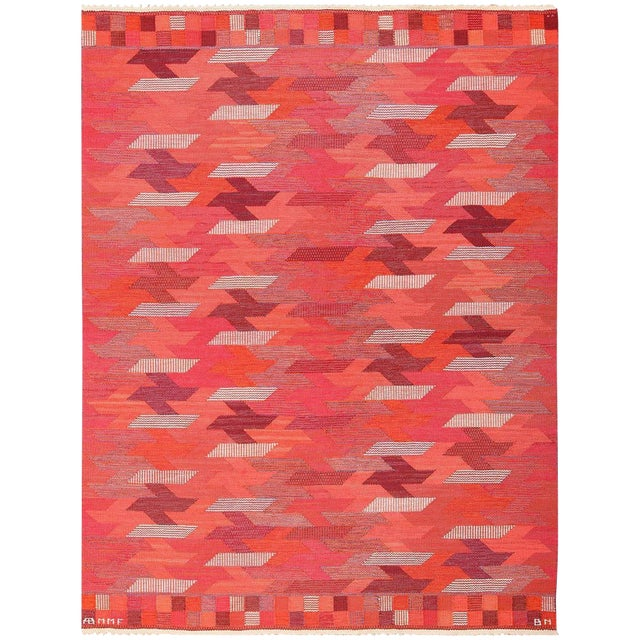 Vintage Marta Maas Scandinavian Geometric Rug by Barbro Nilsson - 6′3″ × 8′2″ For Sale