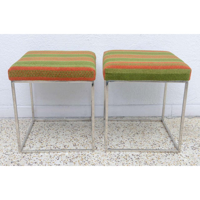 """This pair of Milo Baughman stools are from his """"Thin Line"""" collection from the 1970s. The pieces retain their original..."""