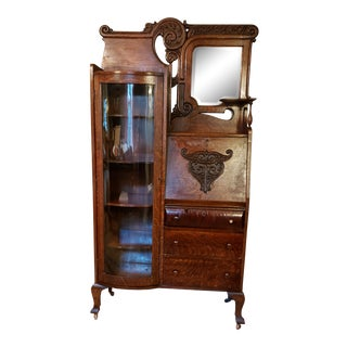 19th Century Art Nouveau Oak Secretary Desk For Sale