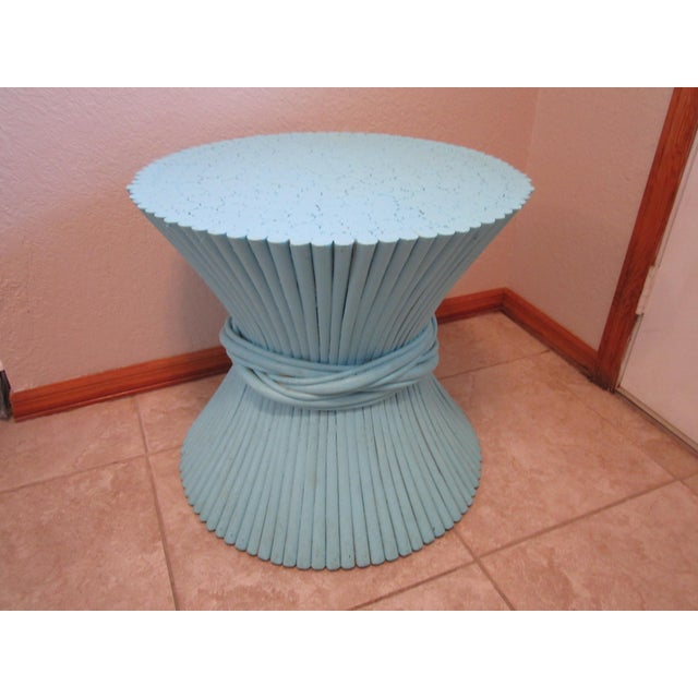 Vintage Sheaf of Wheat Blue Rattan Table Base - Image 2 of 11