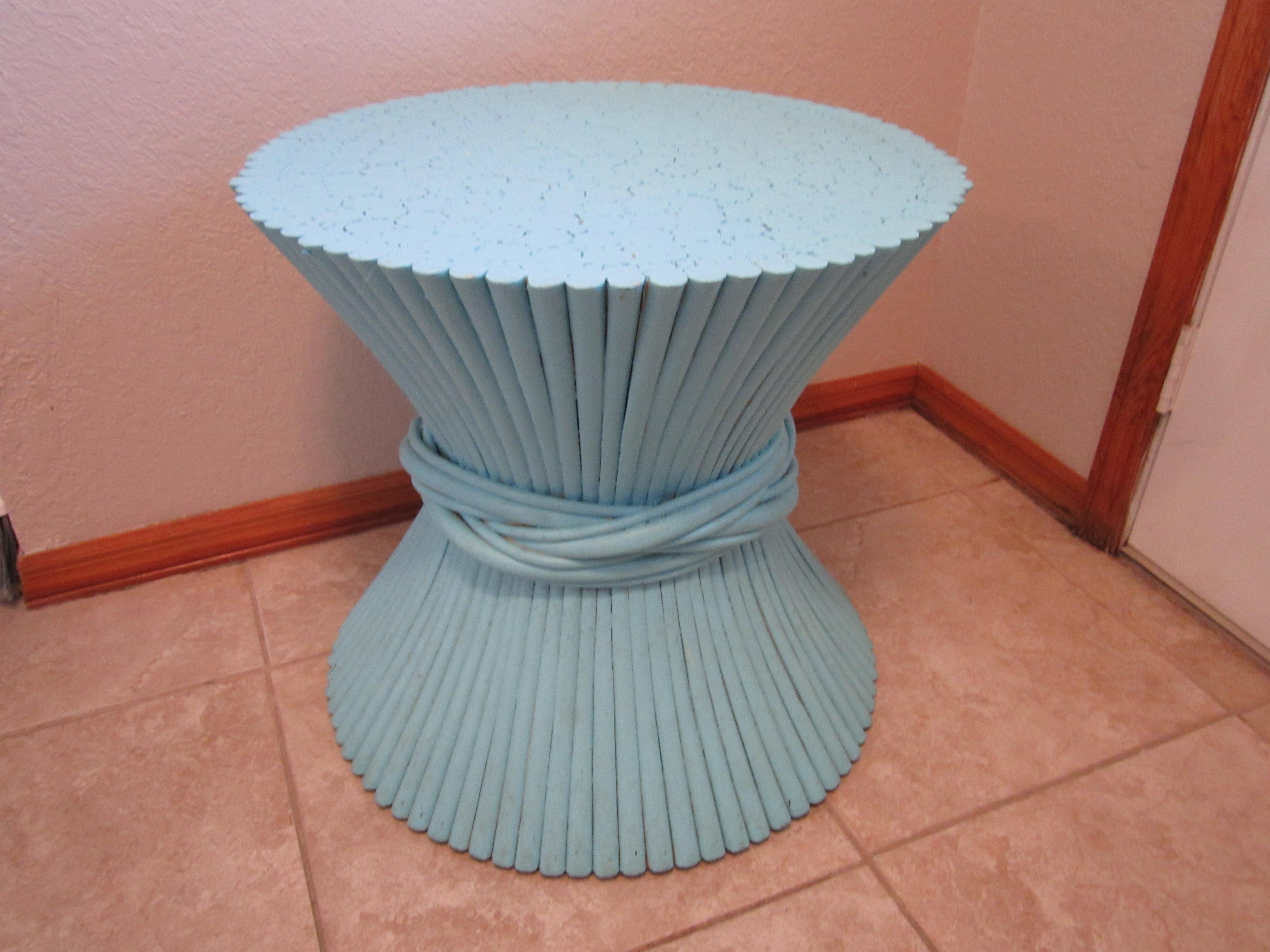 Vintage Sheaf Of Wheat Blue Rattan Table Base   Image 2 Of 11