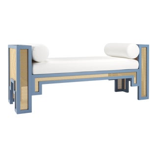 Alexandra Bench - Summer Mist Blue, Optic White Linen For Sale