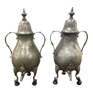 1730s Georgian Pewter Water Urns - a Pair For Sale