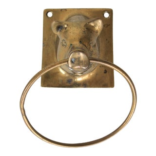 Brass Pig Towel Holder