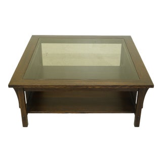 Stickley Large Mission Oak Glass Top Coffee Table For Sale
