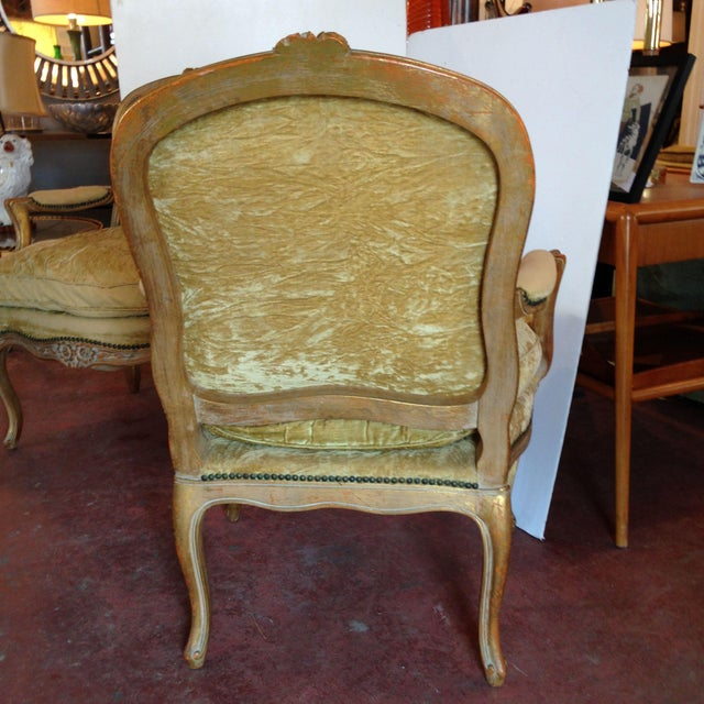 20th Century French Crushed Velvet Gilt-Framed Chairs - a Pair For Sale - Image 4 of 12