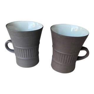 Dansk Flamestone Coffee Cups Designed by Jens Quistgaard Ihq Made in Denmark - a Pair For Sale