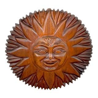 Midcentury Carved Mahogany Sunburst, Circa 1960s For Sale