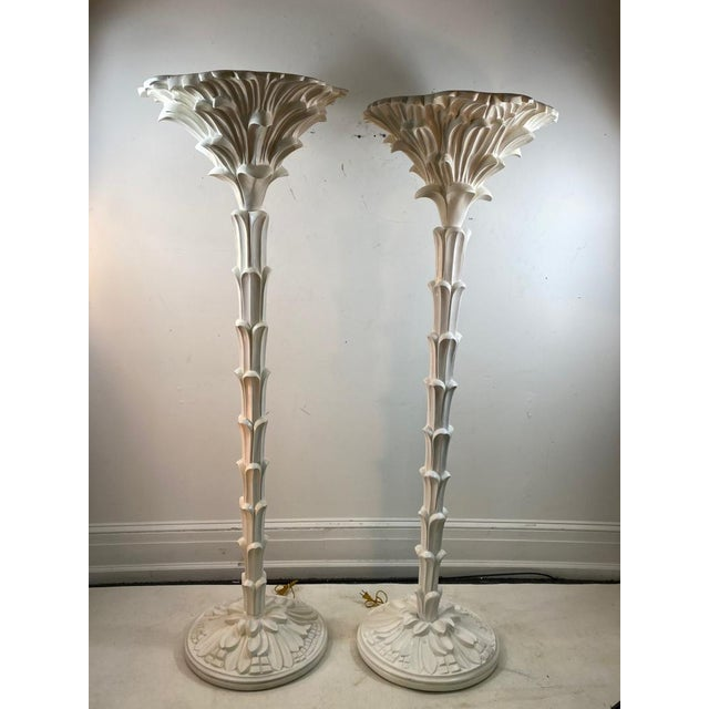 Contemporary Exceptional Pair of Carved Wood Floor Lamps in the Manner of Serge Roche For Sale - Image 3 of 11