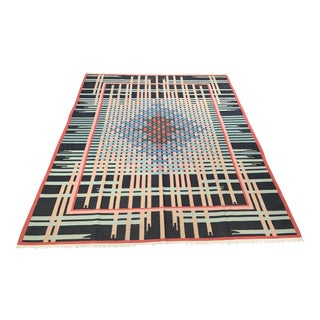 Vintage Mid-Century Scandinavian Designed Flat-Woven Wool Rug - 9′2″ × 11′7″ For Sale