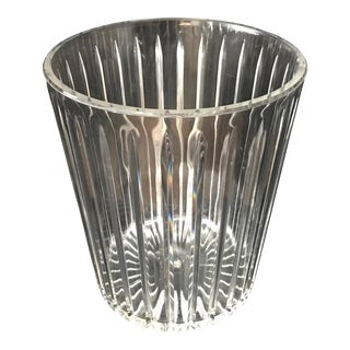 Vintage Sally Designs Acrylic Lucite Textured Waste Basket For Sale