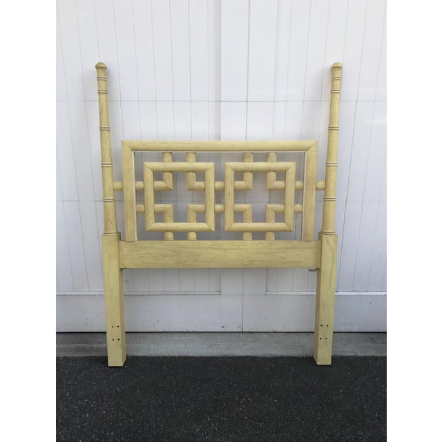 Open Fretwork Geometric design. A single TWIN Headboard from the Dixie Shangri La Collection. Faux Bamboo details....
