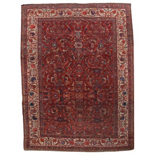 1880s Hand Made Antique Persian Sultanabad Rug - 9′10″ × 13′ For Sale