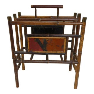 19th Century Japanned Bamboo Magazine Rack