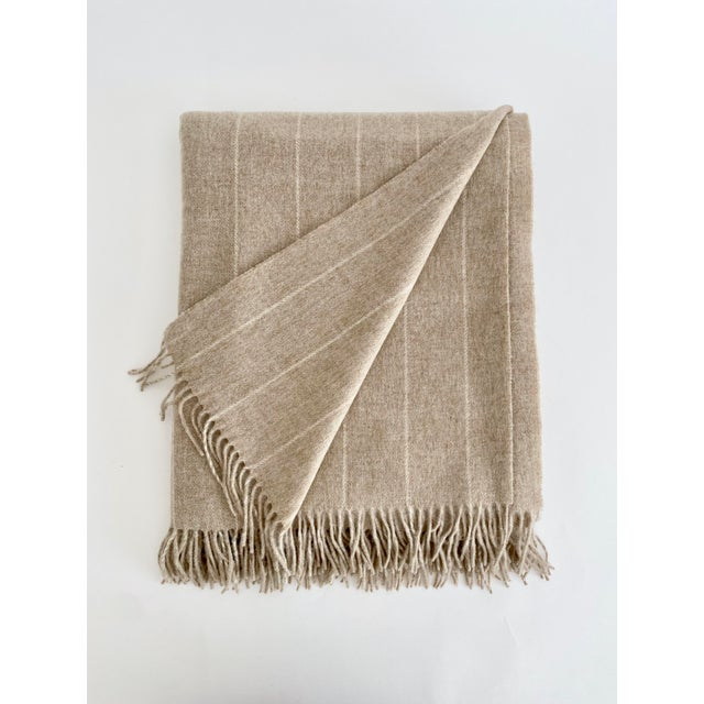 2020s English Neutral Lambswool Throw Blanket For Sale - Image 5 of 6