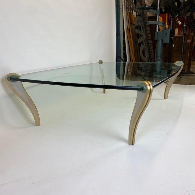 Postmodern Metal & Glass Studio Made Coffee Table by Peter Handler For Sale In Philadelphia - Image 6 of 13