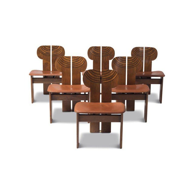 1970s Africa Chairs by Afra and Tobia Scarpa With Cognac Leather Seating For Sale - Image 5 of 12
