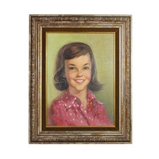 "1960s Oil Portrait of Young ""Mod"" Girl in a Polka Dot Blouse Painting For Sale"