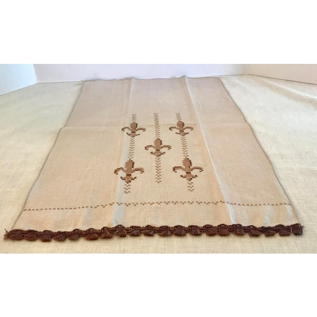 Vintage Fleur De Lis Hand Embroidered Hand Towel Chairish