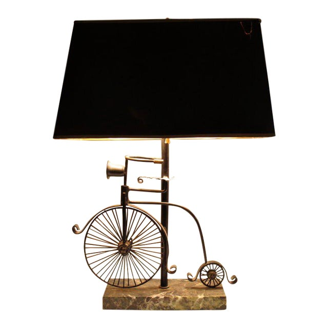 Marble 1950s Vintage Bicycle Lamp and Shade - 2 Pieces For Sale - Image 7 of 7