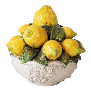 Vintage Italian Ceramic Majolica Lemon Basket Centerpiece. For Sale