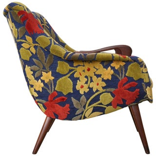 Danish Classic Lounge Design With Slight Winged Arms and Frank Jozef Upholstery For Sale