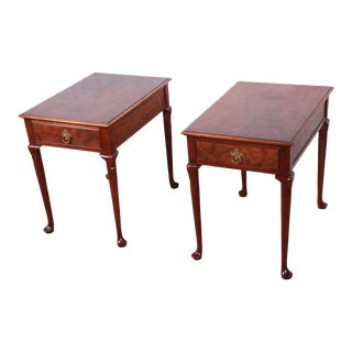 Baker Furniture Queen Anne Burled Walnut Nightstands or End Tables, Pair For Sale