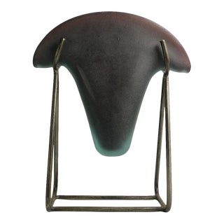 1980s Postmodern Murano Vase in Iron Stand For Sale
