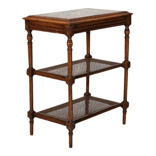 French Tiered Side Table with Marble Top and Caned Shelves For Sale