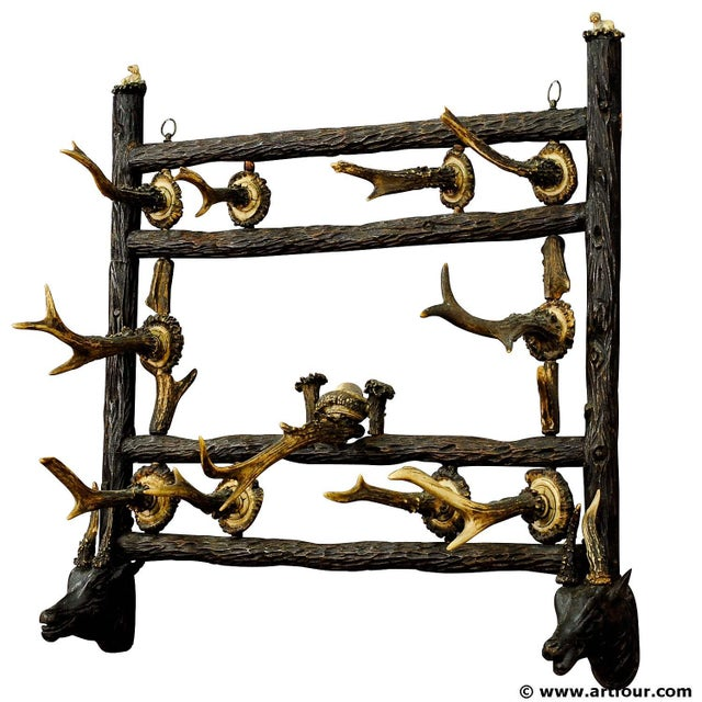 Brown Wooden Carved Coat Rack With Antler Carvings Ca. 1900 For Sale - Image 8 of 8