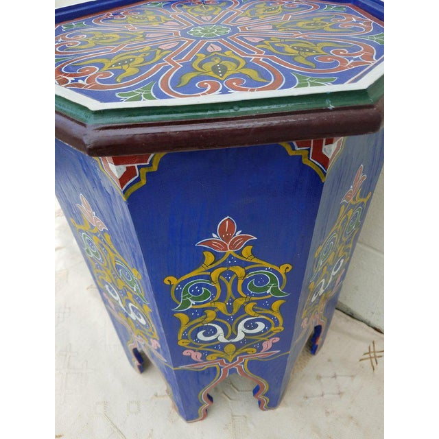 Moroccan Hexagonal Blue Wooden End Table For Sale - Image 4 of 7
