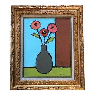 Original Contemporary Alexandra Brown Pop Art Still Life Painting Ornate Vintage Frame For Sale