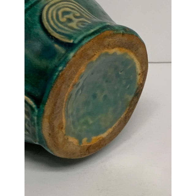 Chinese Chinese Green Glazed Lotus Motif Vase For Sale - Image 3 of 10