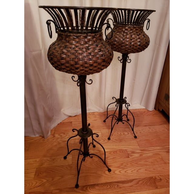 1980s Vintage Iron, Metal and Wicker Plant Stands - A Pair For Sale - Image 4 of 7