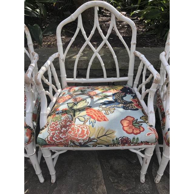 Chinese Chippendale Faux Bamboo Arm Chairs - Set of 4 For Sale - Image 4 of 11