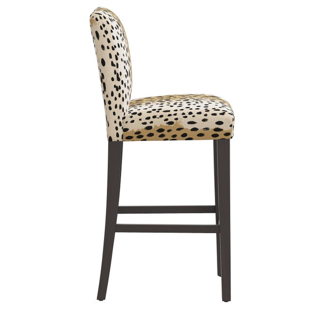 Transitional Bar stool in Linen Leopard Caramel For Sale - Image 3 of 8