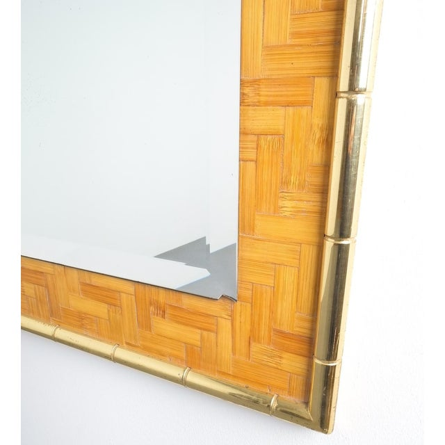 Gold Bamboo Brass Console Table and Mirror, Italy 1950 For Sale - Image 8 of 13