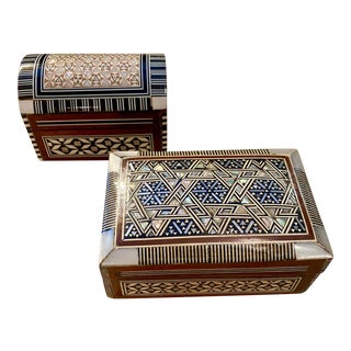 Anglo-Indian Antique Inlaid Boxes, Pair For Sale