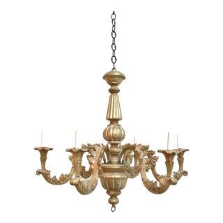 Italian Gold Leaf Wood 6 Light Chandelier For Sale