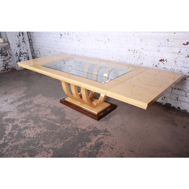Brown Italian Art Deco Birdseye Maple and Mahogany Pedestal Extension Dining Table For Sale - Image 8 of 11